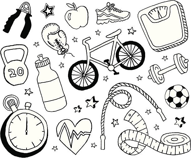health and fitness doodles - pencil drawing stock illustrations