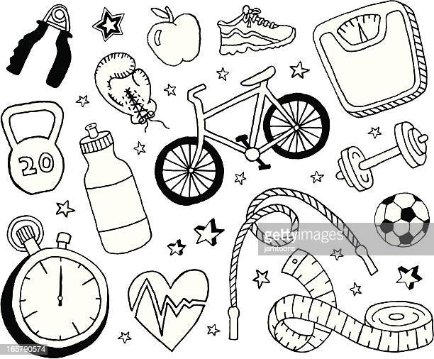 health and fitness doodles - dieting stock illustrations, clip art, cartoons, & icons
