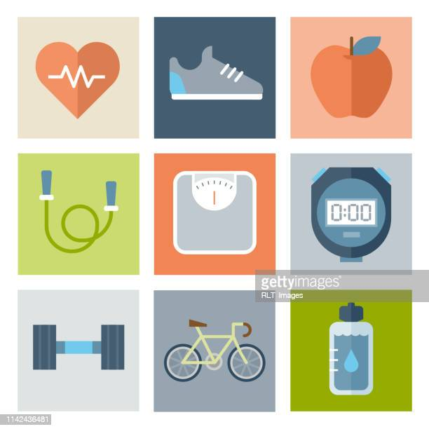 health and fitness icons — flat series - dieting stock illustrations