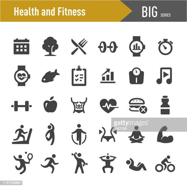 health and fitness icons set - big series - anaerobic stock illustrations, clip art, cartoons, & icons