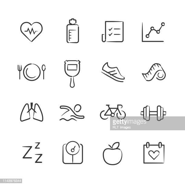 health and fitness icons—sketchy series - weights stock illustrations