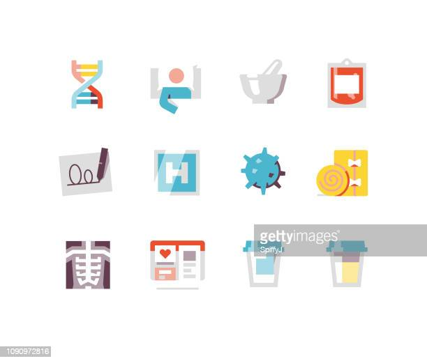 health and medicine flat icons 2 - urine sample stock illustrations