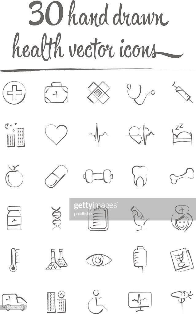 health and medicine hand drawn vector icons set