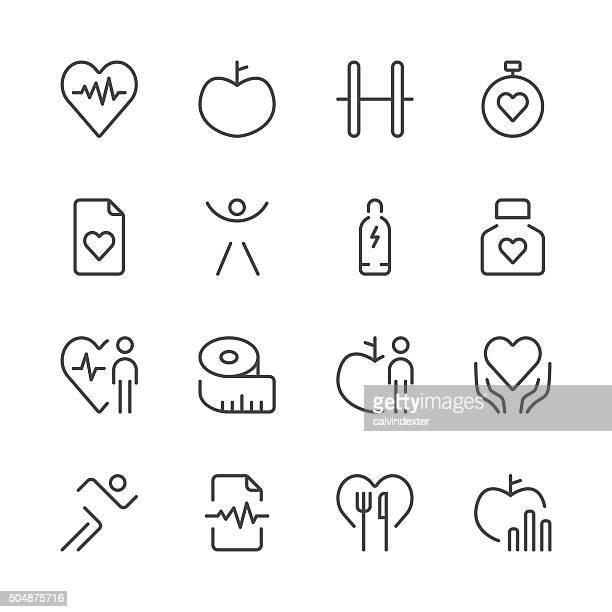 health and nutrition icons set 1 | black line series - dieting stock illustrations, clip art, cartoons, & icons