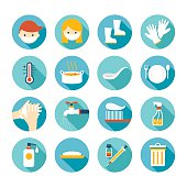 Health and Sanitation Flat Icons Set