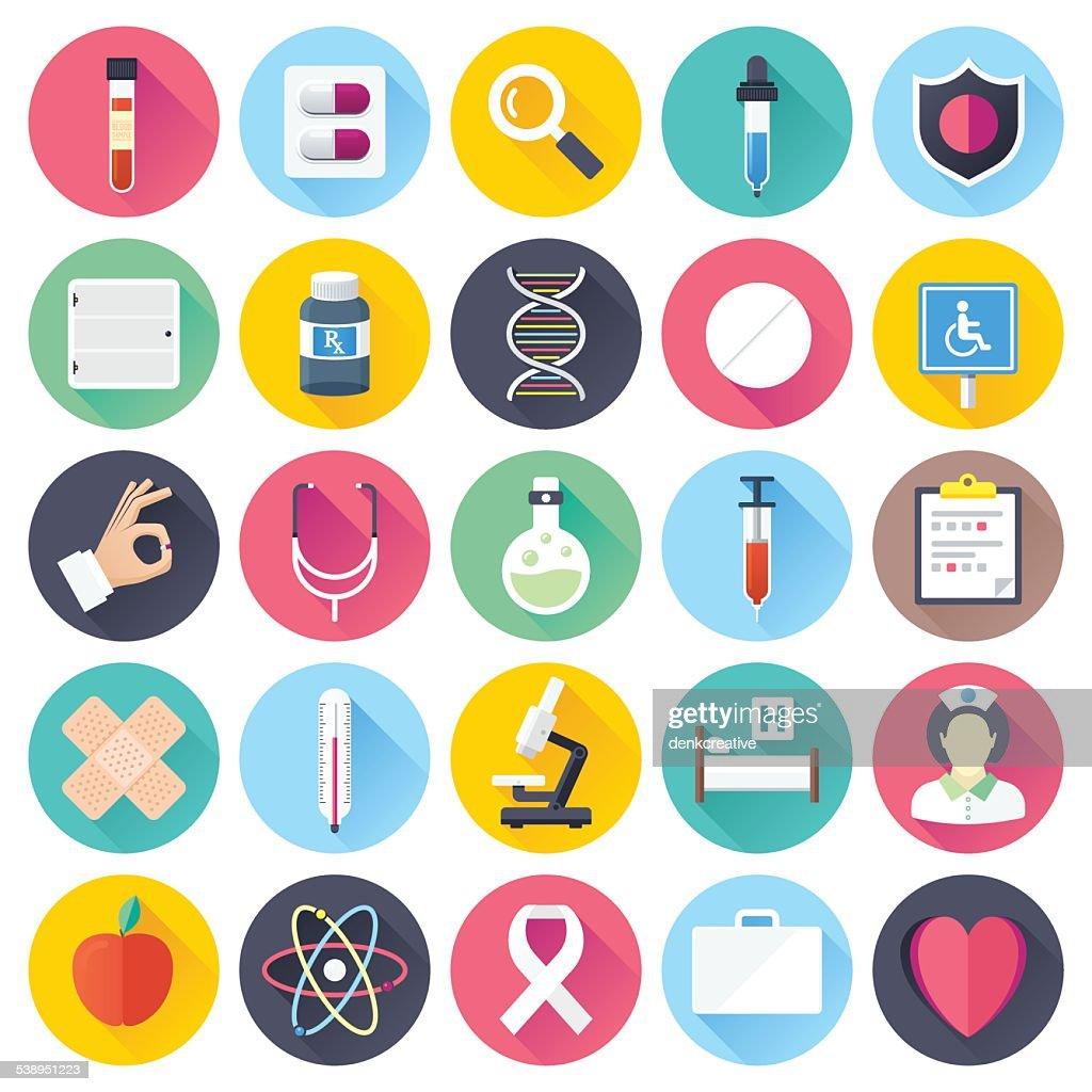 Asistencia sanitaria y medicina iconos plana : Ilustración de stock