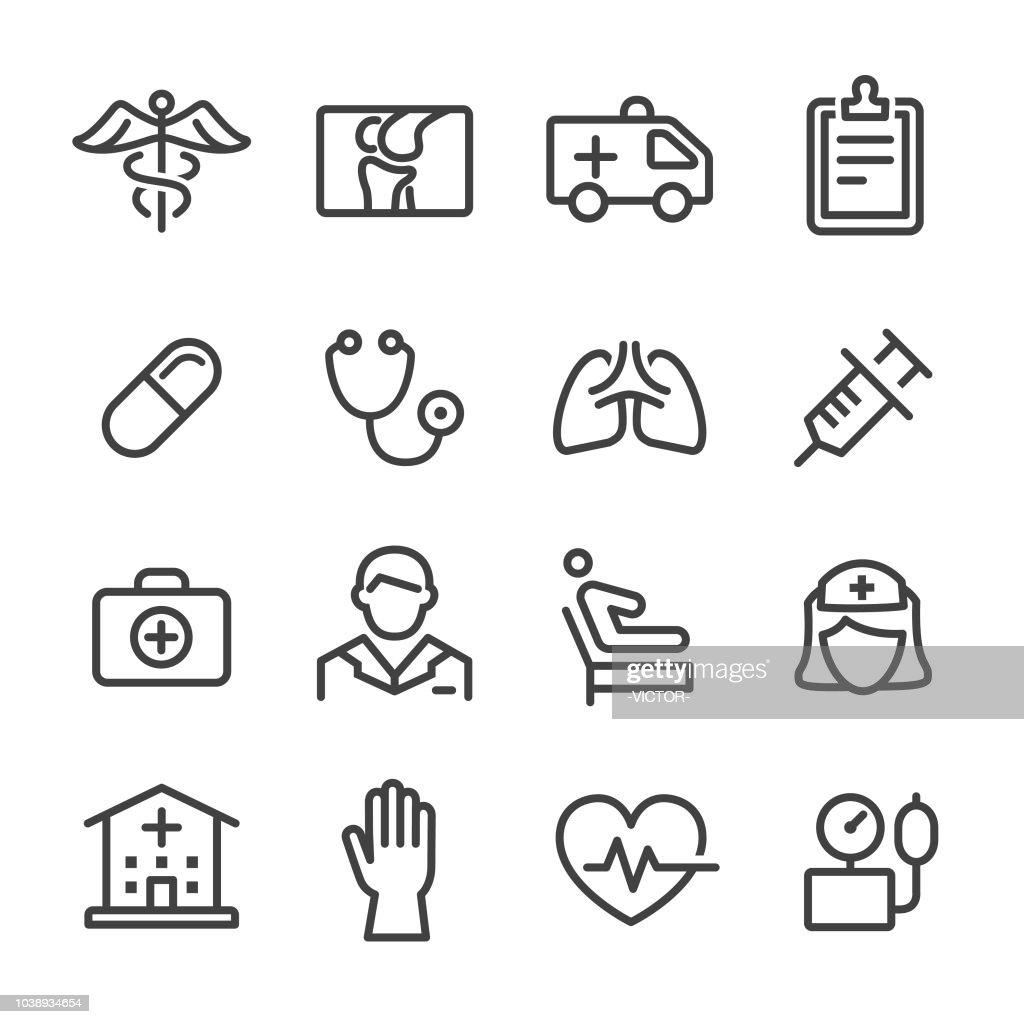 Ícones de cuidados de saúde - série de linha : Ilustração