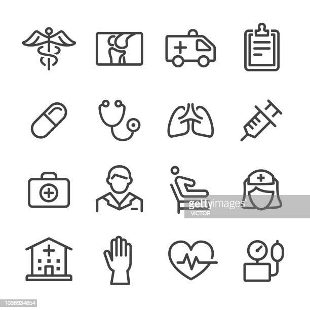 health care icons - line series - medical exam stock illustrations