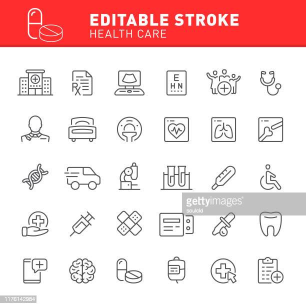health care icons - diagnostic medical tool stock illustrations