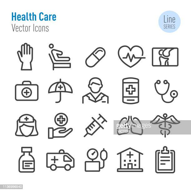 health care icons - vector line series - respiratory system stock illustrations