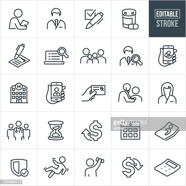 health care insurance thin line icons - editable stroke - medicine stock illustrations