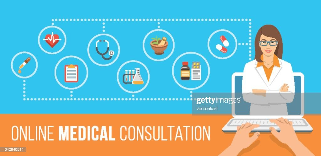 Health care online consultation flat banner