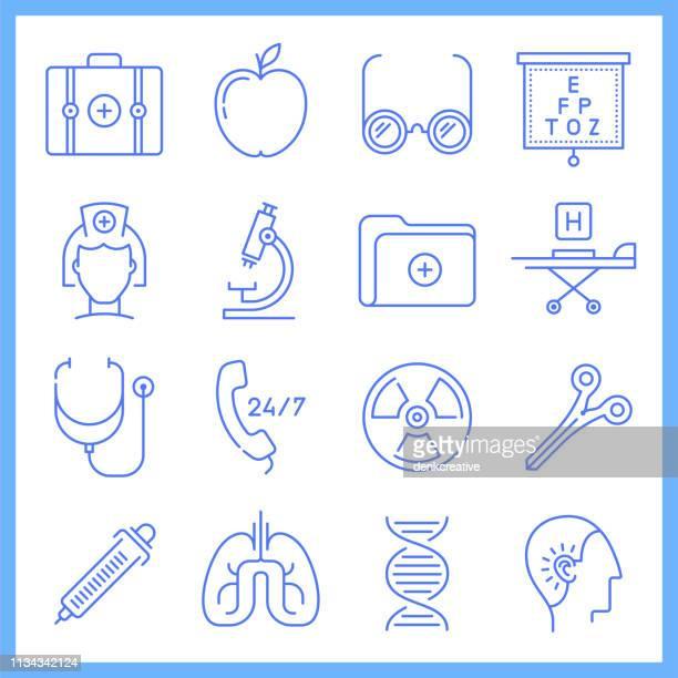 ilustrações, clipart, desenhos animados e ícones de programas de cuidados de saúde blueprint estilo vector icon set - exame de vista exame médico