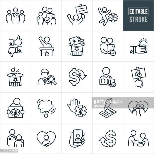 gesundheitsreform thin line icons - editable stroke - reform stock-grafiken, -clipart, -cartoons und -symbole