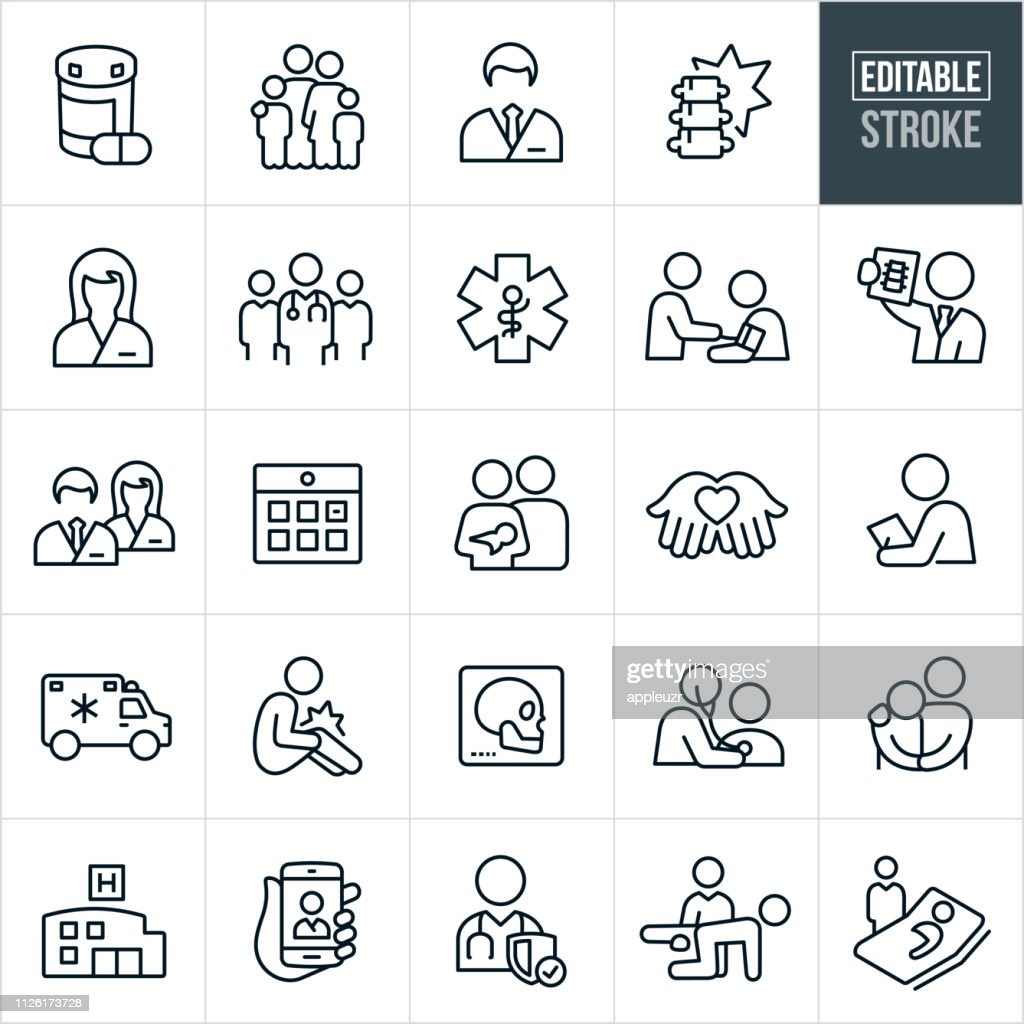 Health Care Thin Line Icons - Editable Stroke : Stock Illustration