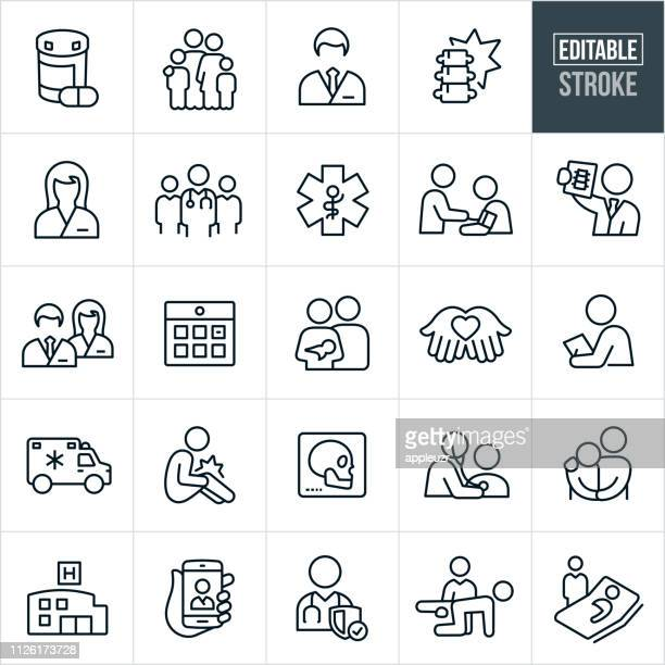 health care thin line icons - editable stroke - line art stock illustrations