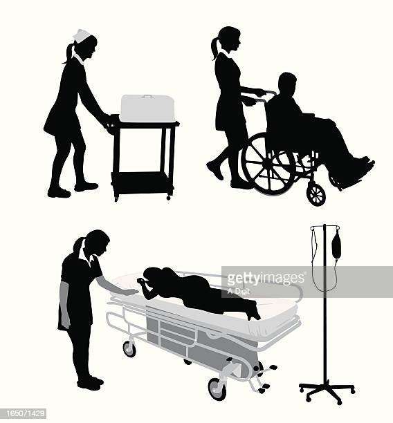 health care worker vector silhouette - paralysis stock illustrations, clip art, cartoons, & icons