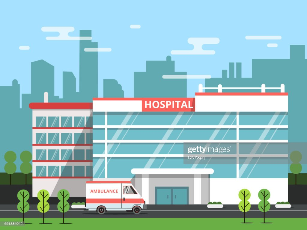Health center, exterior of hospital building. Ambulance vector illustration