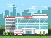 Health center, exterior of hospital building. Ambulance vector illustration