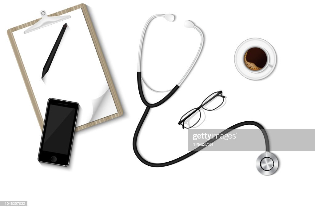 Health checkup concept, Doctor's desktop workspace with stethoscope and equipment