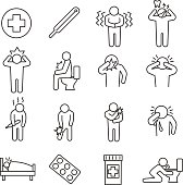 Health conditions. set of line icons