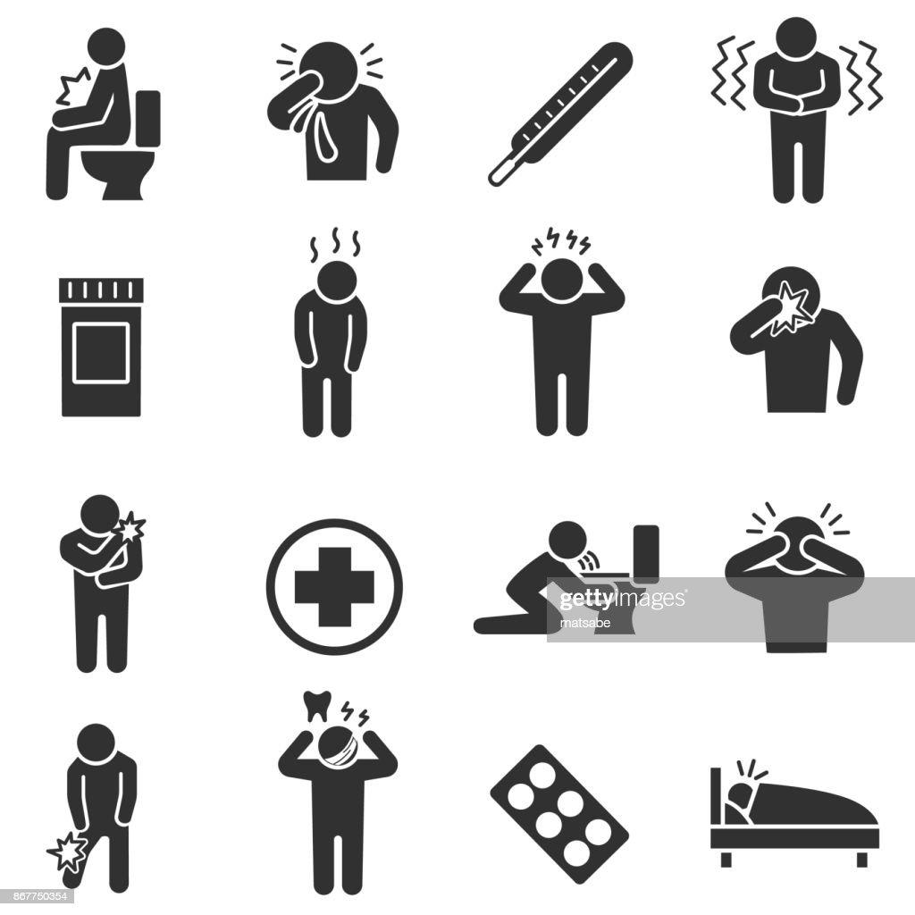 Health conditions, sickness. monochrome icons set.