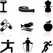 health diet and fitness black & white vector icon set