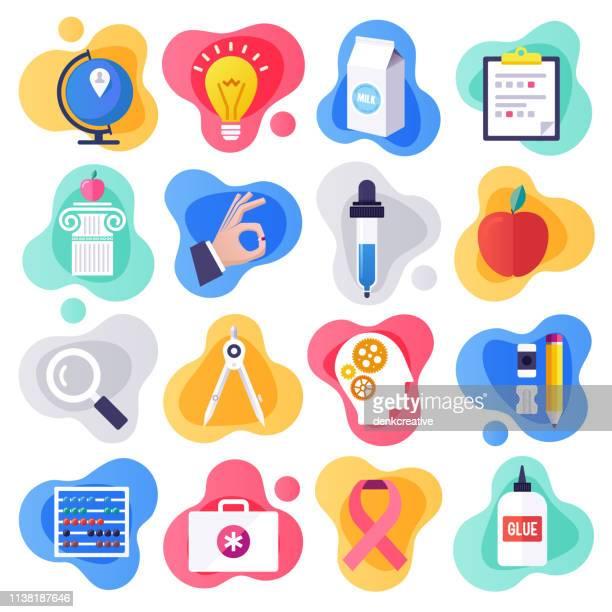 illustrazioni stock, clip art, cartoni animati e icone di tendenza di health education & communication flat liquid style vector icon set - flat design