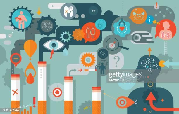 ilustraciones, imágenes clip art, dibujos animados e iconos de stock de efectos sobre la salud de la composición horizontal de fumar cigarrillo - sistema respiratorio