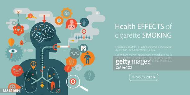 health effects of cigarette smoking web banner with copy space text - coughing stock illustrations
