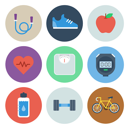 Health & Fitness Icons — Circle Series - gettyimageskorea