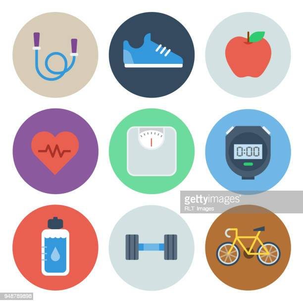 health & fitness icons — circle series - healthy lifestyle stock illustrations