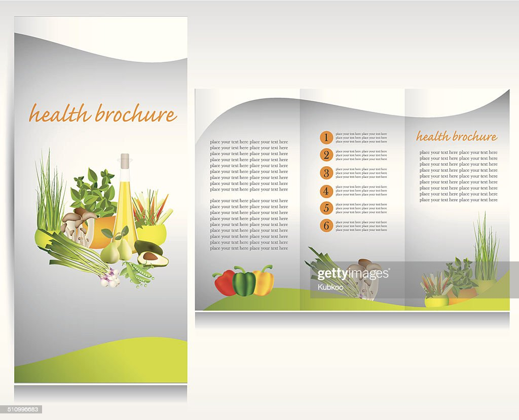 Health food brochure design. Bio vegetable and fruit.Green brochure folder vector.