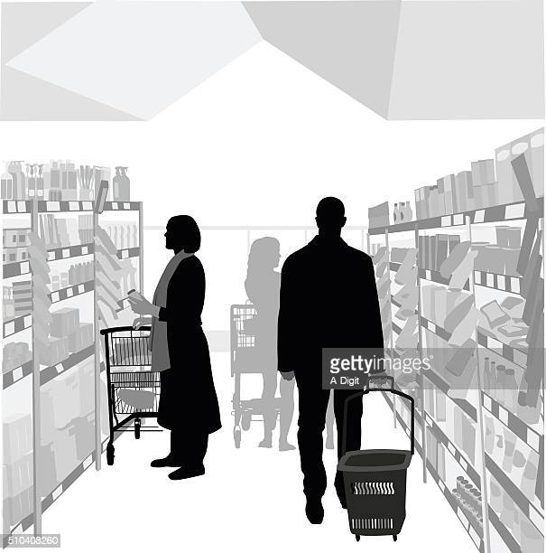 health food store - shopping basket stock illustrations