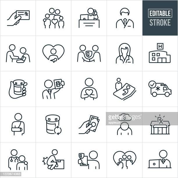 illustrazioni stock, clip art, cartoni animati e icone di tendenza di icone linea sottile assicurazione sanitaria - tratto modificabile - farmacia