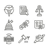 Health Laws and Legal icon set depicting various aspects of the legal system