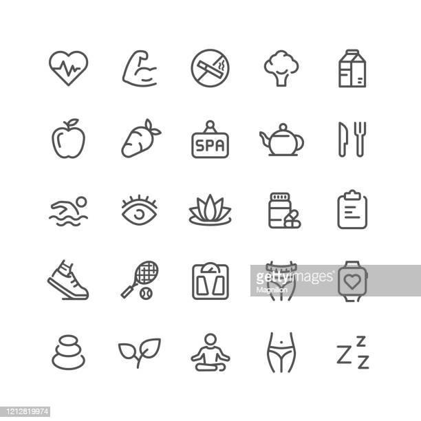 ilustraciones, imágenes clip art, dibujos animados e iconos de stock de conjunto de iconos de la línea de salud - bienestar