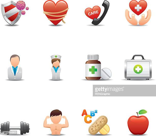 health & medicine icon set | elegant series - immune system stock illustrations, clip art, cartoons, & icons
