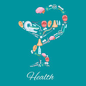 Health poster in Hygieia Bowl symbol and medicines