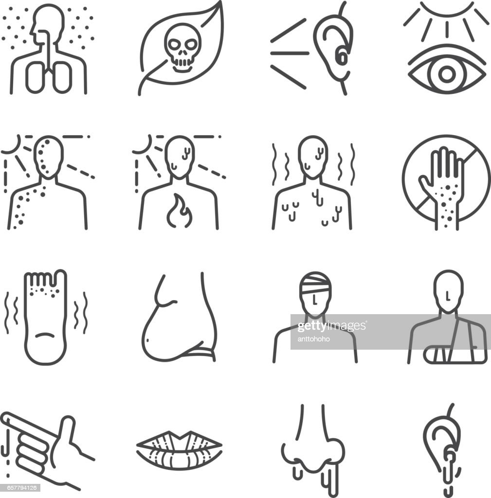 Health problem and disease icon set