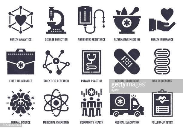 スティプル テクスチャ効果付き健康調査ベクター アイコン パック - ロボット手術点のイラスト素材/クリップアート素材/マンガ素材/アイコン素材
