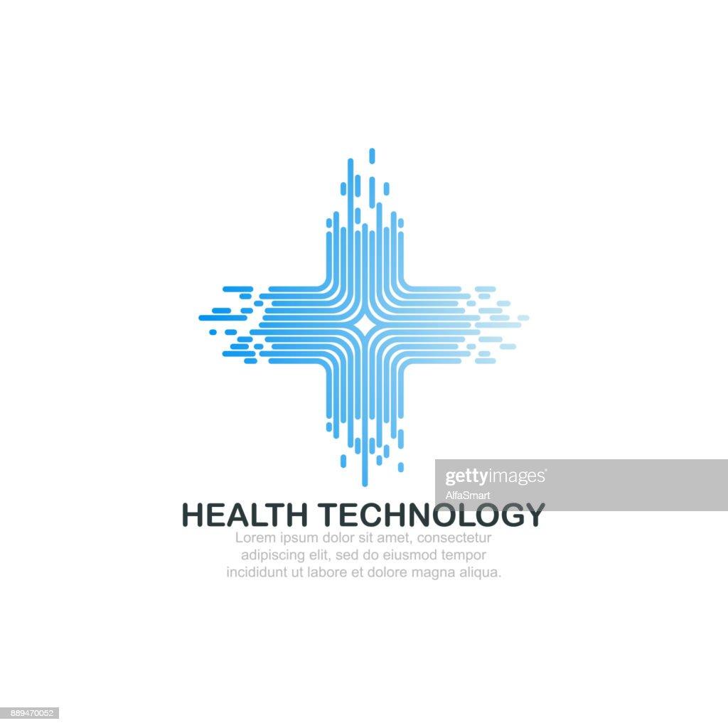Health technology logo template.