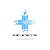 Health technology logo template.
