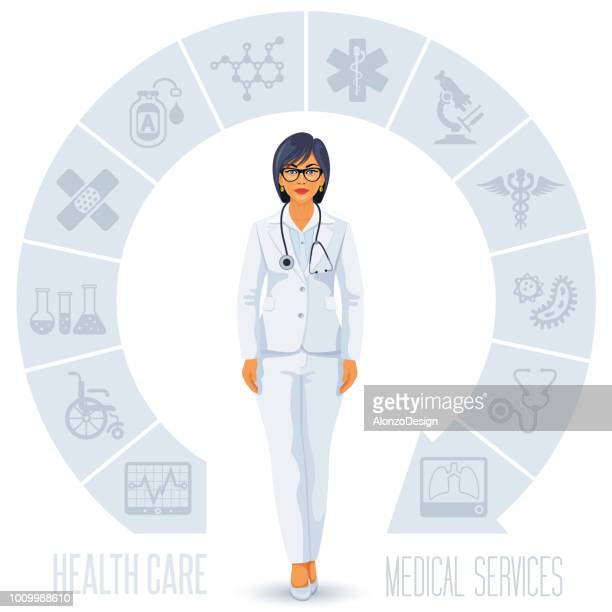 healthcare and doctor - female likeness stock illustrations