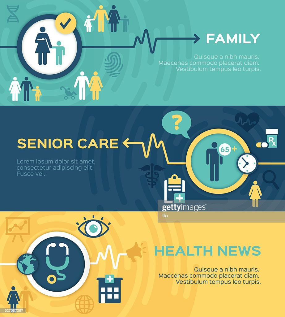 Healthcare and Family Banners : stock illustration