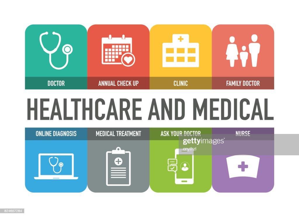 Conjunto de ícones coloridos de saúde e médicos : Ilustração