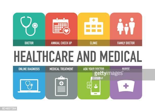 ilustrações, clipart, desenhos animados e ícones de conjunto de ícones coloridos de saúde e médicos - estetoscópio