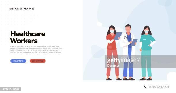ilustraciones, imágenes clip art, dibujos animados e iconos de stock de ilustración vectorial de concepto médico y de salud para la plantilla de página de aterrizaje, banner del sitio web, publicidad y material de marketing, publicidad en línea, presentación de negocios, etc. - trabajador sanitario