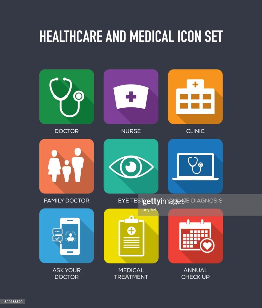 Healthcare and Medical Flat Icons Set : stock illustration
