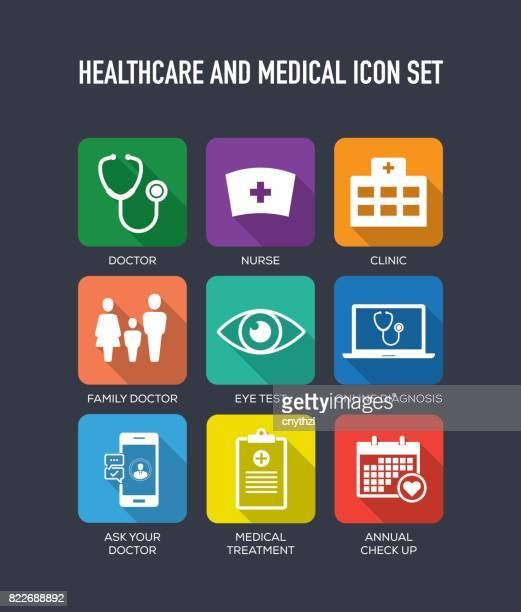 Healthcare and Medical Flat Icons Set
